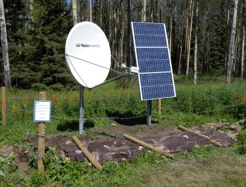 Regional Alberta Observatory for Earthquake Studies Network (RAVEN) satellite telemetered seismic network station.